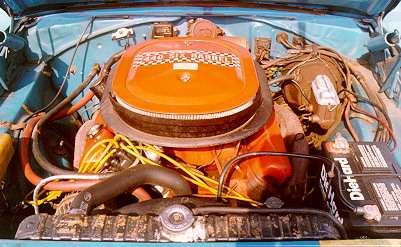 1970 Plymouth Superbird, under hood view
